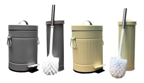 Set baño cesto tacho basura 3 lts escobilla accesorios pc