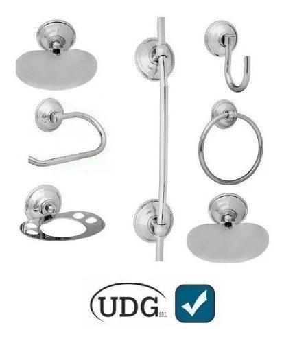 Set kit juego accesorios para baño 7 piezas bronce cromado