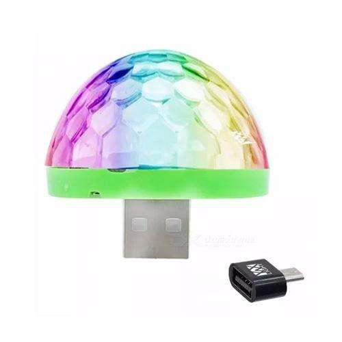 Mini bola led multicolor usb con adaptador para celular