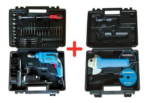 Taladro percutor 710w + amoladora 750w kit gamma accesorios