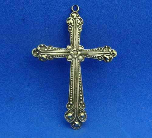 Antigua cruz de plata y marquesitas art deco