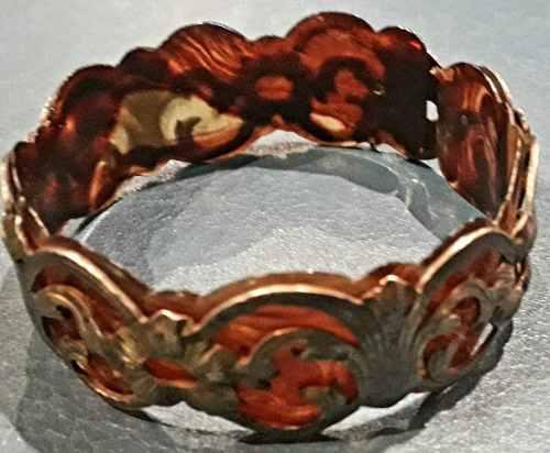 Antigua pulsera plata carey esclava brazalete 25 mm ancho