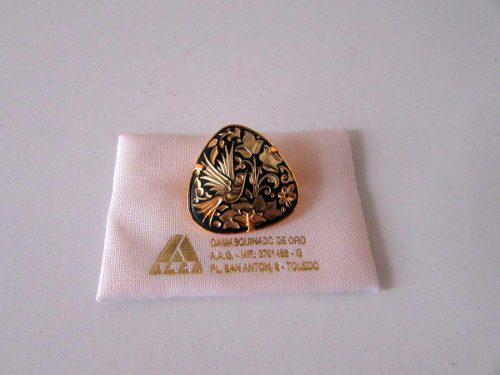 Antiguo broche damasquinado oro 24 toledo españa sin uso