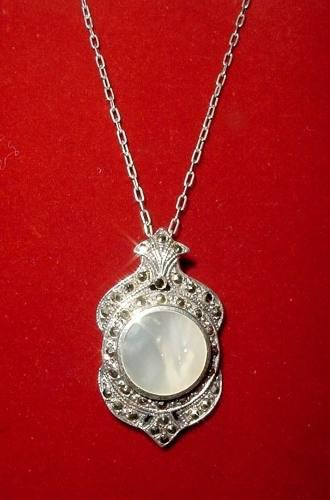 Antiguo colgante plata marquesitas nácar cadena plata 900