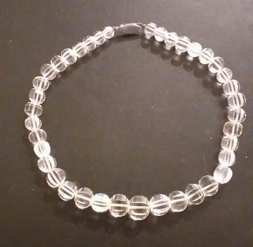 Antiguo collar gargantilla cristal de roca y broche de plata