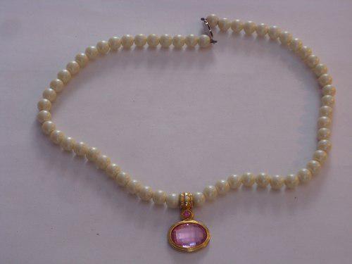 Antiguo collar gargantilla de perlas fantasia con colgante