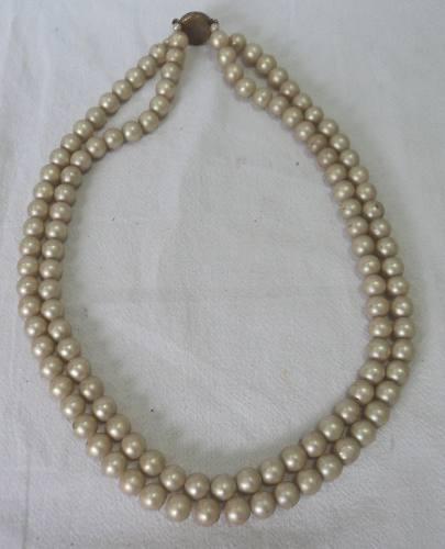 Antiguo collar retro vintage perlas fantasia broche redondo