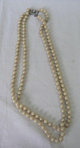 Antiguo collar vintage perlas fantasia broche rectangular