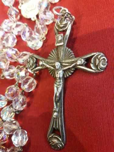 Antiguo gran rosario cristal de roca checo cruz plata 900