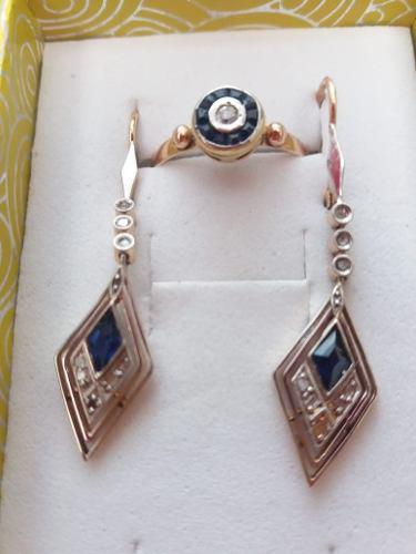 Aros pendientes anillo oro 18k joya antigua diamantes zafiro