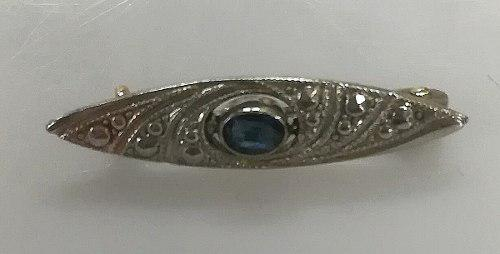 Broche antiguo de bebe plata 800 oro zafiro azul 1.10 grs