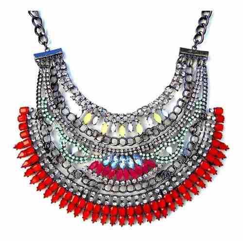 Oferta Collar Maxi Con Piedras Y Strass Rojo Positivo Design