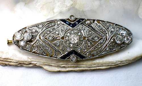 Plaqueta antigua de oro 18 kt platino brillantes y diamantes