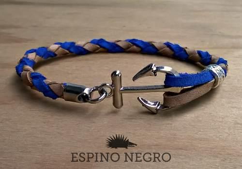 Pulsera náutica-ancla de cuero - accesorios masculinos