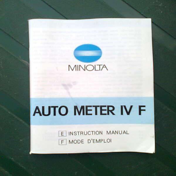 Vendo manual de fotòmetro minolta ?auto meter iv f? en La
