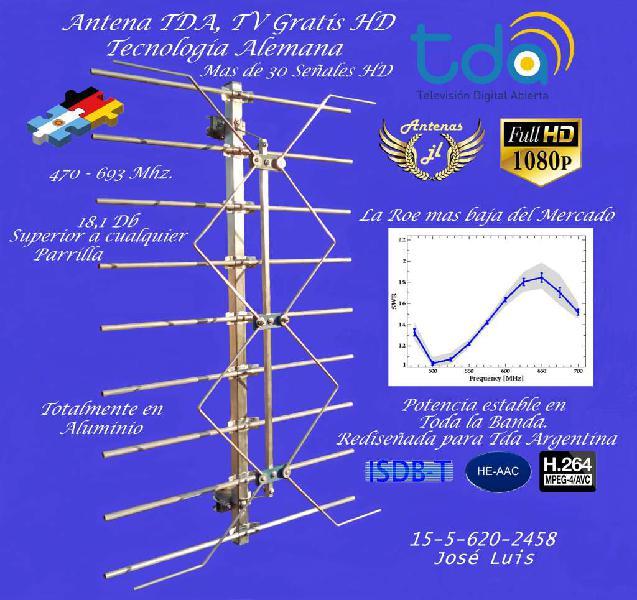Antena tv digital gratuita, 18 db.mas de 38 señales en alta