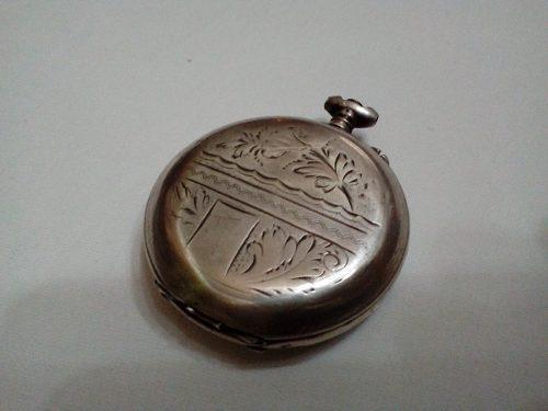 Antigua caja de plata reloj bolsillo ancre bicicleta