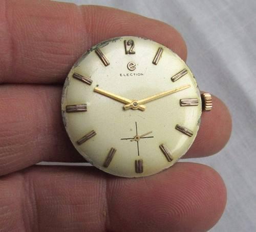 Antigua maquina de reloj election cal. 875, completa no anda