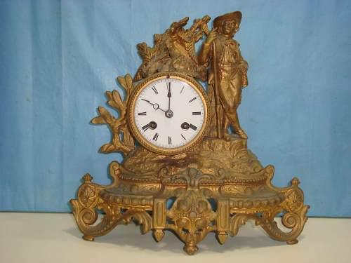 Antiguo reloj frances mesa chimenea cazador soneria 1880