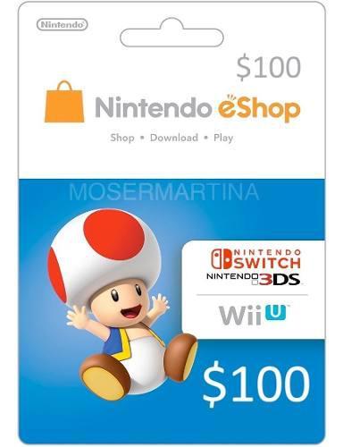 Codigos tarjeta nintendo eshop u$100 para switch 3ds wiiu