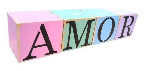 Cubos vintage de madera letras nombres x 4 deco candy hogar