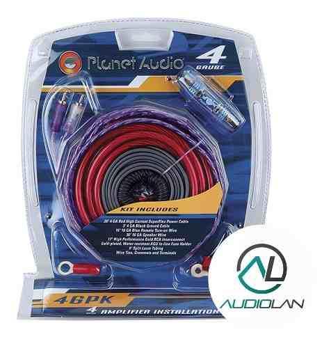 Kit de cables planet audio 4ga 5000w con fusilera+accesorios