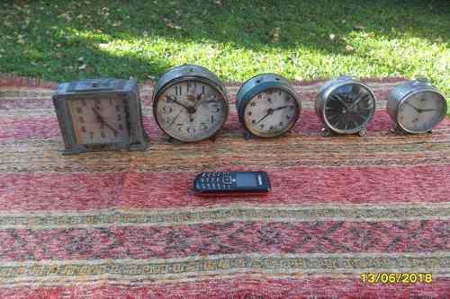 Lote antiguos relojes despertadores jaz junghans dihel y otr