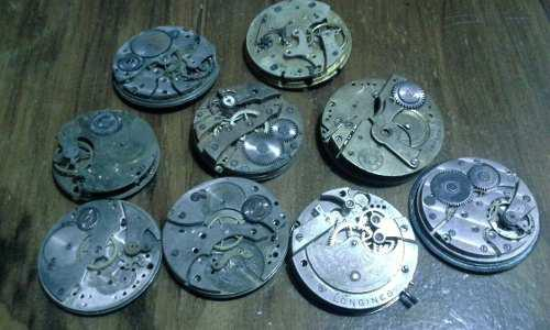 Lote maquinas relojes antiguos de bolsillo,lanco,longines y+