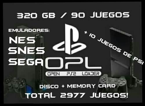 Ps2 kit usb. disco 320gb + mc 64mb. ps2/ps1/nes/snes/sega