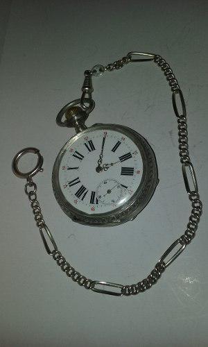 Reloj de bolsillo eclipse plata 800 cadena y estuche