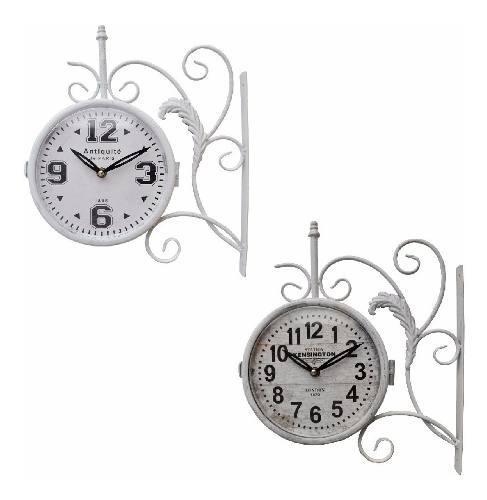 Reloj de estación de pared antiguo blanco vintage london pc