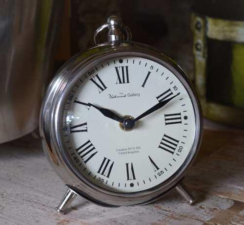 Reloj de mesa metal cromado nuevo y de bolsillo antiguo