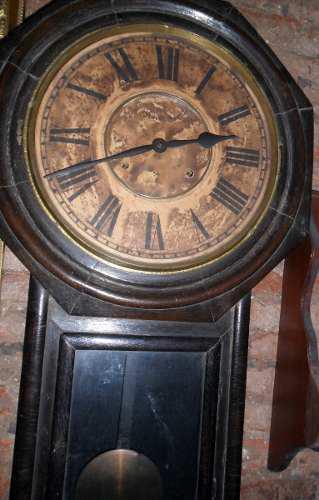 Reloj de pared ansonia usa caja de roble a cuerda antiguo