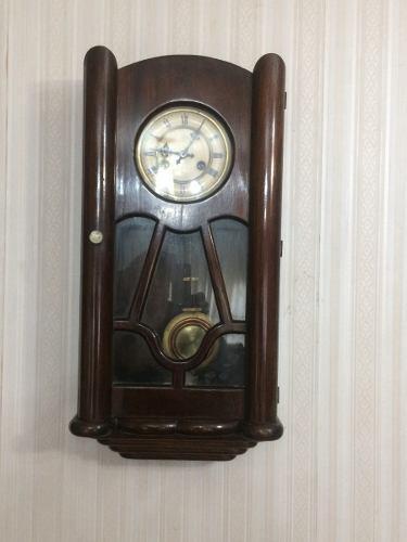 Reloj de pared pendulo aleman antiguo junghans funcionando