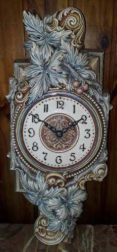 Reloj de pared símil antiguo cerámica decorada esmaltada