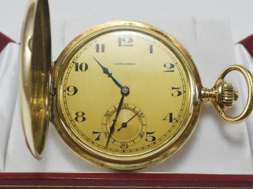 Reloj hombre de bolsillo longines oro 14k macizo antiguo