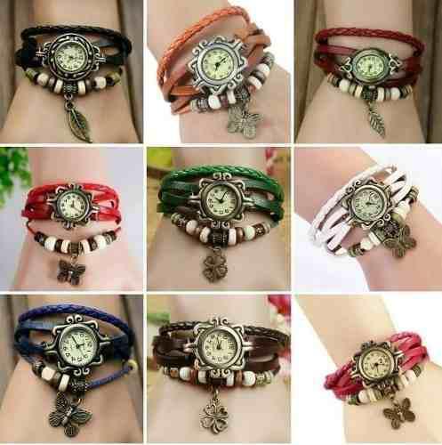 Reloj pulsera vintage mujer de moda - artesanal $