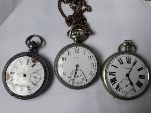 Relojes antiguos de bolsillo. omega,prevote,cyma c/cadena