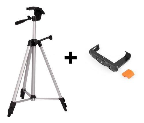 Tripode p/ foto video universal 1.35mt + adap celular