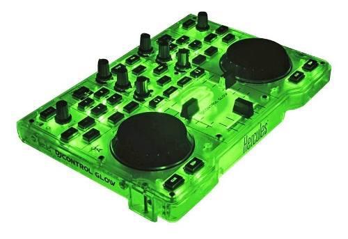 Controlador dj hercules glow green mixer dj luz led verde hd
