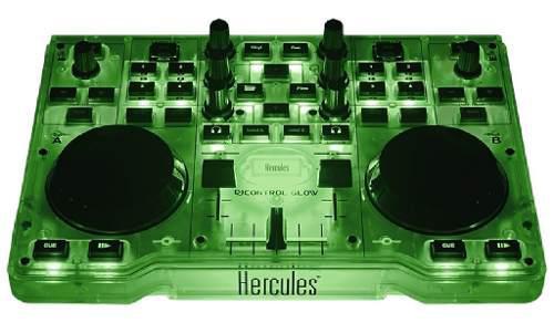 Controlador dj hercules glow luz led verde mp3 envío