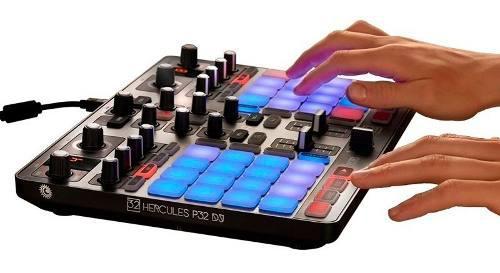 Hercules p32 - controlador dj consola dj midi usb c/pads luz