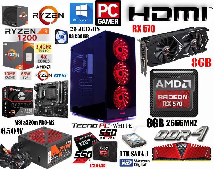 Pc gamer power 2 // nueva // ryzen 3 1200 x4 / ssd 120gb /