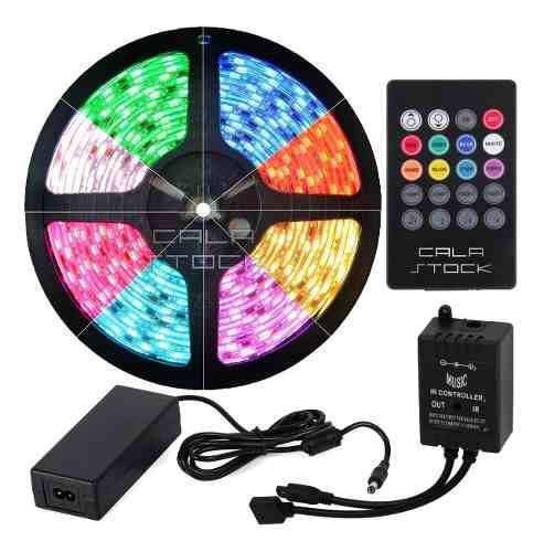 Tira led rgb 5050 c/ controladora audio rítmica kit