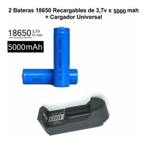 Cargador baterias + 2 baterias ion li 18650 5000 mha