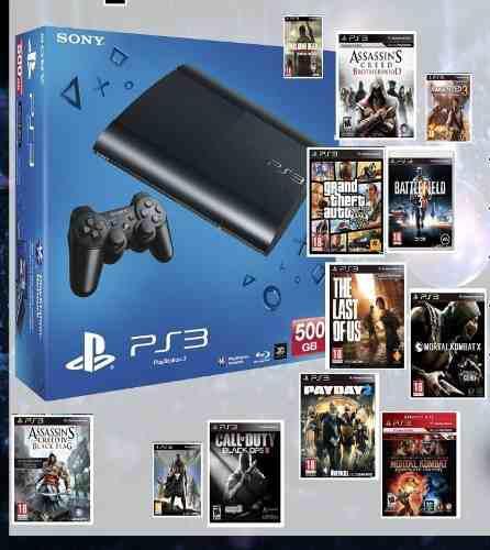 Ps3 con juegos 35full/500gb/2joystick/consultar!!!