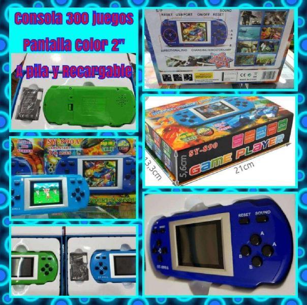 Consola portátil azul 300 video juegos
