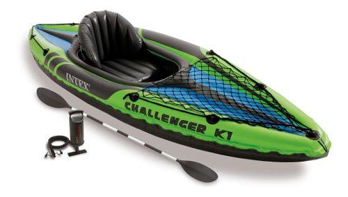 Kayak canoa intex challenger k 1 inflable c/ remos alum