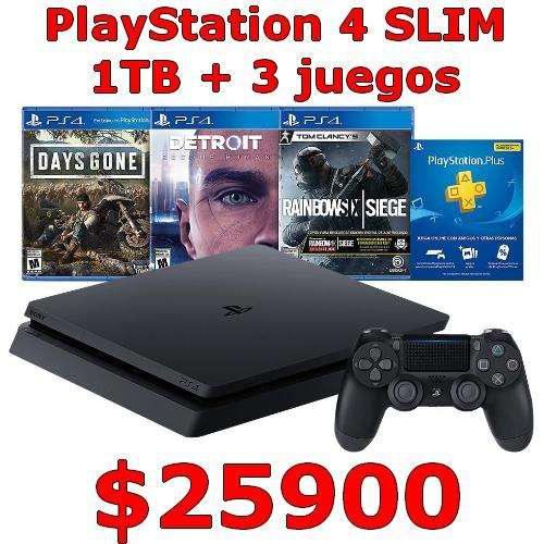Play station 4 ps4 slim cuh2215b 1tb 3 juegos y 3 meses