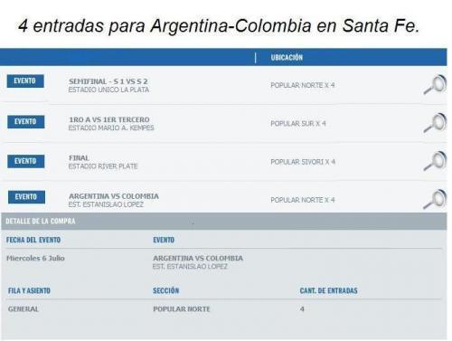 Vendo entradas copa america 2011 en Entre Ríos